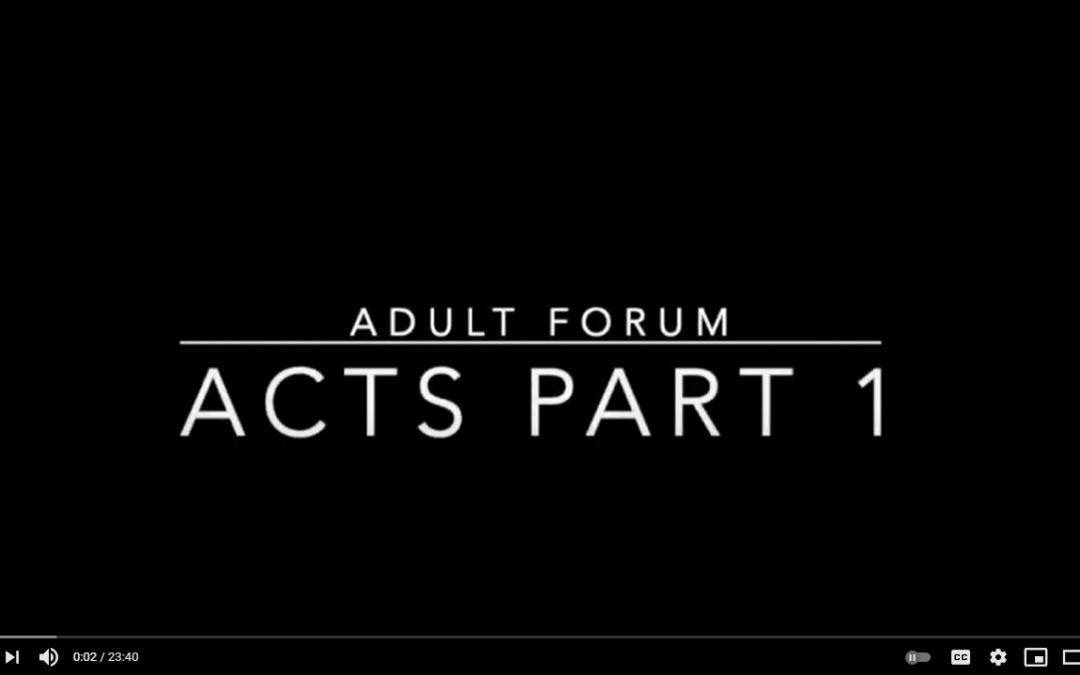 Adult Forum: Acts Part 1